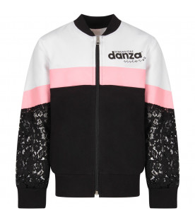 DIMENSIONE DANZA Black, white and pink girl sweatshirt with black logo