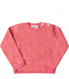 GUCCI KIDS Pink babygirl weater with gold iconic GG