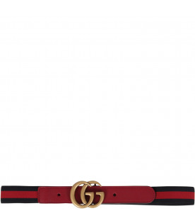 GUCCI KIDS Blue and red kids belt with iconic GG