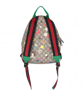 GUCCI KIDS Beige kids backpack with colorful prints