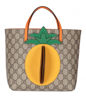 GUCCI KIDS Beige girl bag with yellow and green pineapple