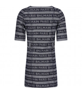 Denim girl dress with all-over logo