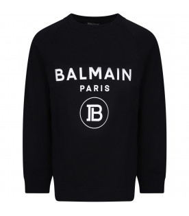 Black kids sweatshirt with white logo