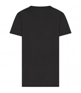 Black kids T-shirt with silver logo