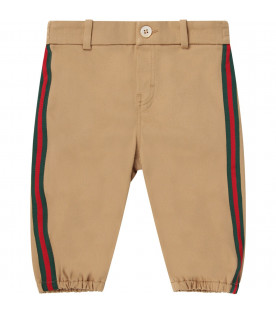 Gucci kids Beige babyboy pants with orange logo