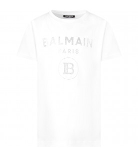 White T-shirt with silver logo for girl