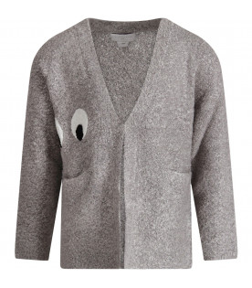 Grey kids cardigan with white and black eyes