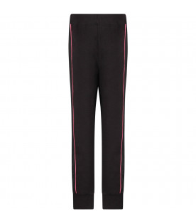 Black girl sweatpant with logo and fucshia details