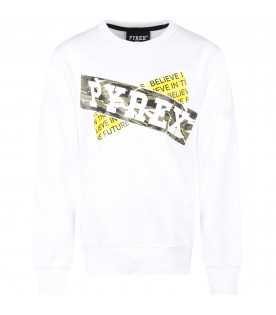 PYREX KIDS White boy sweatshirt with white logo