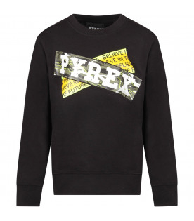PYREX KIDS Black boy sweatshirt with white logo