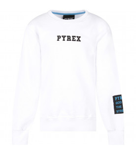 PYREX KIDS White boy sweatshirt with black logo and stripes