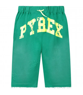 PYREX KIDS Green boy short with neon yellow logo