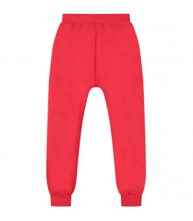 PYREX KIDS Red boy sweatpants with black and white logo