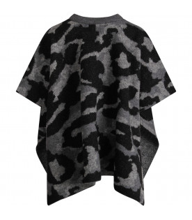 STELLA MCCARTNEY KIDS Grey girl poncho with animalier print