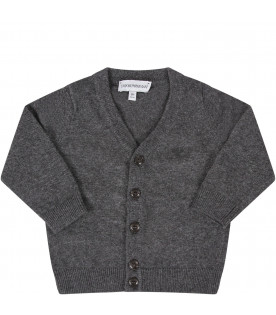 ARMANI JUNIOR Grey babyboy vardigan with rubbred eagle