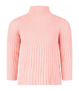 Pink girl ribbed sweater
