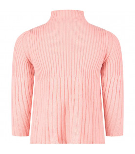 SIMONETTA Pink girl ribbed sweater