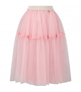 SIMONETTA Pink girl skirt with gold iconic logo