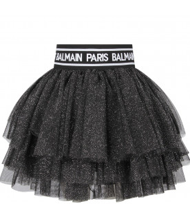 BALMAIN KIDS Black girl skirt with white logo