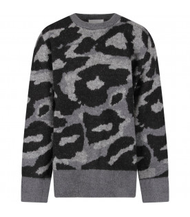 STELLA MCCARTNEY Grey girl sweater with animalier print