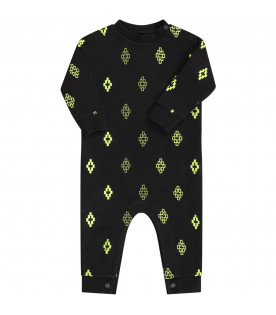 Black babyboy babygrow with neon yellow cross