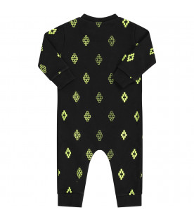 MARCELO BURLON KIDS Black babyboy babygrow with neon yellow cross