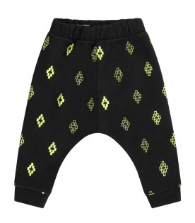 MARCELO BURLON KIDS Black babyboy sweatpants with neon yellow cross