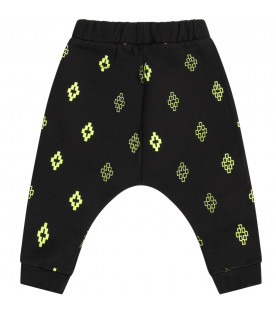 Black babyboy sweatpants with neon yellow cross