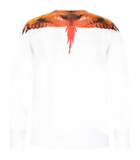 White boy sweatshirt with orange and yellow wings