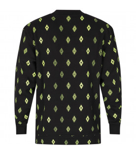 Black boy sweatshirt with neon yellow cross