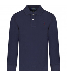 Blue polo shirt with red iconic horse for boy