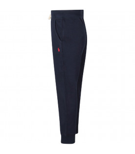 RALPH LAUREN KIDS Blue boy sweatpants with red pony logo