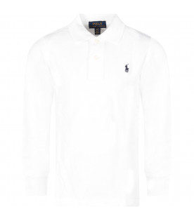 RALPH LAUREN KIDS White boy polo shirt with iconic horse