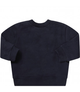RALPH LAUREN KIDS Blue babyboy sweatshirt with red pony logo
