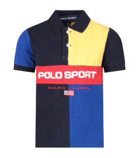 Color block boy polo shirt with red logo