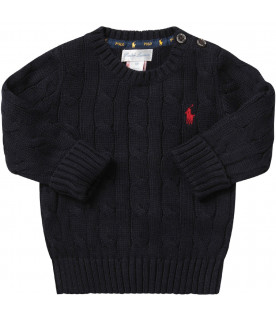 RALPH LAUREN KIDS Blue babyboy sweater with red pony logo