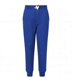 Royal blue boy sweatpants with red pony logo