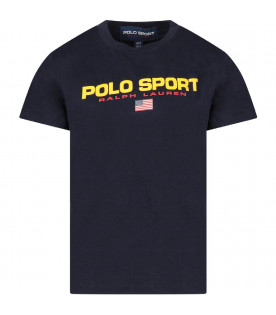 Blue boy T-shirt with red logo