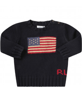 RALPH LAUREN KIDS Blue babyboy sweateer with iconic flag and logo