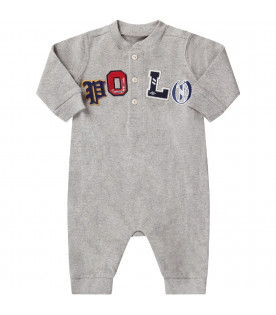 RALPH LAUREN KIDS Grey babyboy babygrow with colorful logo