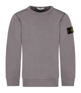 STONE ISLAND JUNIOR Grey boy sweatshirt with iconic patch