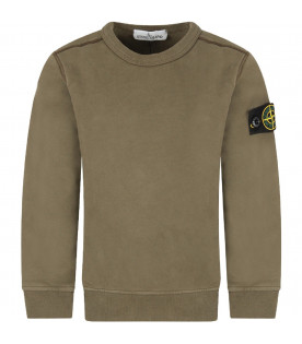 STONE ISLAND JUNIOR Military green boy sweatshirt with iconic patch