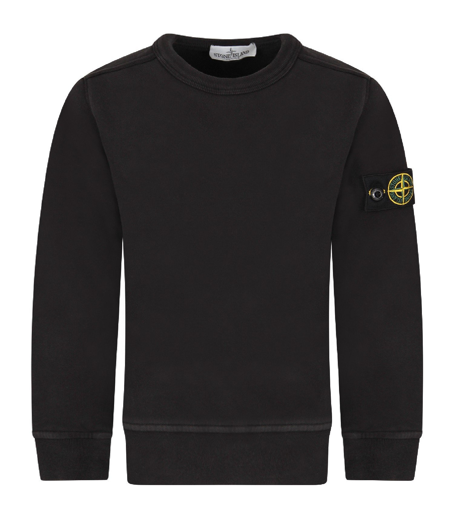 Stone Island Junior Black boy sweatshirt with iconic patch
