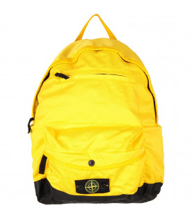 STONE ISLAND JUNIOR Yellow boy back pack with iconic patch