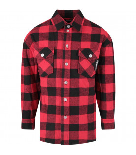 Black and red boy shirt with colorful logo