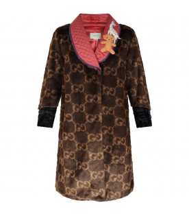 GUCCI KIDS Brown girl coat with double GG and patch