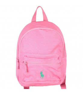RALPH LAUREN KIDS Pink girl backpack with green pony logo
