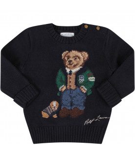 RALPH LAUREN KIDS Blue babyboy sweater with colorful Bear and dog