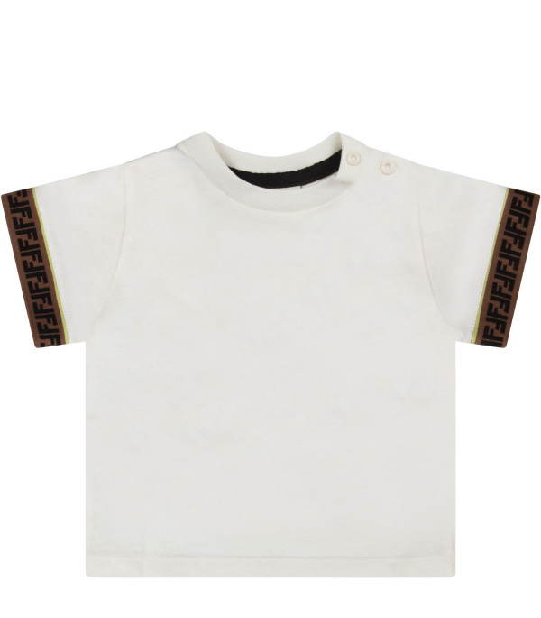 FENDI KIDS Ivory baby boy t-shirt with double FF