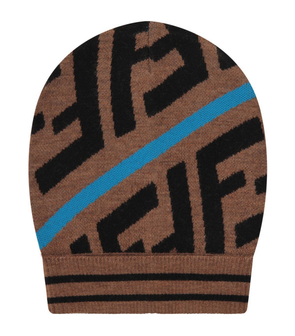 FENDI KIDS Brown kids beanie hat with FF and blue stripes